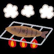 投網で魚を手に入れる