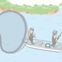 事故破産中は、投網で食料を確保